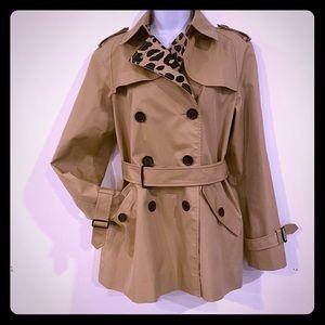 Coach Trench Rain Coat Leopard Tan Ladies Medium